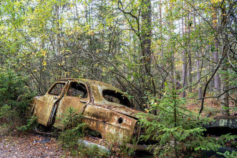 Autowrack im Kyrkö Mosse