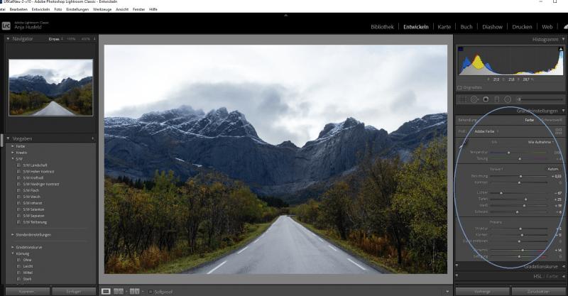 In RAW fotografieren, Dateibearbeitung in Lightroom